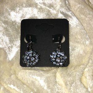 Jewelry - Genuine grey crystal on hematite post earrings